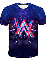 cheap -Kids Boys' Basic Street chic Galaxy Color Block 3D Print Short Sleeve Tee Rainbow