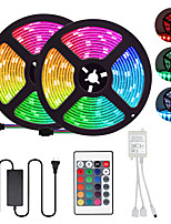 cheap -2x5M Flexible LED Light Strips / Light Sets / RGB Strip Lights 300 LEDs SMD5050 10mm 1 12V 6A Adapter / 1 24Keys Remote Controller 1 set Multi Color Cuttable / Party / Decorative 85-265 V