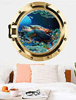 cheap -Turtle Wall Sticker Multicolor Flat Removable Underwater World 3D PVC Wallpaper Home Decorations