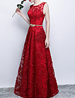 cheap -A-Line Jewel Neck Floor Length Polyester Luxurious / Red Engagement / Prom Dress with Beading / Sash / Ribbon 2020