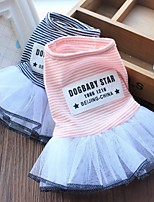 cheap -Dog Costume Dress Dog Clothes Breathable Pink Wedding Costume Beagle Bichon Frise Chihuahua Cotton Voiles & Sheers Stripes Quotes & Sayings Party Cute XS S M L