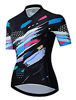 cheap -21Grams Women's Short Sleeve Cycling Jersey 100% Polyester Black / Blue Stripes Bike Jersey Top Mountain Bike MTB Road Bike Cycling UV Resistant Breathable Quick Dry Sports Clothing Apparel