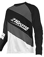 cheap -21Grams Men's Long Sleeve Cycling Jersey Downhill Jersey Dirt Bike Jersey 100% Polyester Red / White Black / White Stripes Bike Jersey Top Mountain Bike MTB Road Bike Cycling UV Resistant Breathable