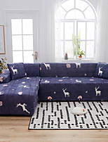 cheap -Christmas Deer Print Dustproof All-powerful Slipcovers Stretch L Shape Sofa Cover Super Soft Fabric Couch Cover with One Free Pillow Case