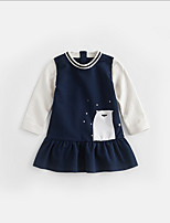 cheap -Kids Girls' Color Block Dress Navy Blue