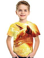 cheap -Kids Boys' Active Punk & Gothic 3D Plaid Animal Short Sleeve Tee Yellow