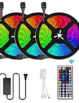 cheap -3x5M Flexible LED Light Strips / Light Sets / RGB Strip Lights 450 LEDs SMD5050 10mm 1 44Keys Remote Controller / 1 x 10A power adapter 1 set Multi Color Cuttable / Decorative / Self-adhesive 12 V