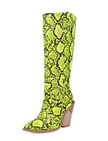 cheap -Women's Boots Chunky Heel Pointed Toe PU Knee High Boots Vintage / British Fall & Winter Black / White / Yellow / Party & Evening