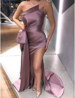 cheap -Mermaid / Trumpet Strapless Sweep / Brush Train Polyester Sexy / Purple Engagement / Formal Evening Dress with Bow(s) / Draping / Split 2020
