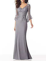 cheap -Mermaid / Trumpet V Neck Sweep / Brush Train Chiffon Sexy / Grey Wedding Guest / Formal Evening Dress with Sequin / Appliques 2020
