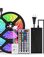 cheap -2x5M Flexible LED Light Strips / Light Sets / RGB Strip Lights 300 LEDs SMD5050 10mm 1 12V 6A Adapter / 1 44Keys Remote Controller 1 set Multi Color Cuttable / Party / Decorative 85-265 V