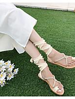 cheap -Women's Sandals Flat Heel Round Toe PU Summer Black / Almond