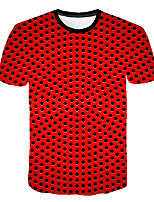 Недорогие -Дети Мальчики Классический Уличный стиль Горошек Контрастных цветов 3D С принтом С короткими рукавами Футболка Красный