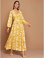 cheap -Women's Holiday Cute Lantern Sleeve Sheath Maxi Dress - Floral Sun Flower, Print Yellow S M L XL