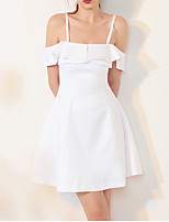 cheap -A-Line Spaghetti Strap Short / Mini Spandex Sexy / White Cocktail Party / Homecoming Dress with Ruffles 2020
