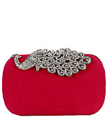 cheap -Women's Buttons / Crystals Polyester / Alloy Evening Bag Solid Color Purple / Fuchsia / Red