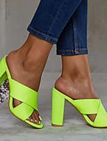 cheap -Women's Sandals Chunky Heel Round Toe PU Summer Fuchsia / Green