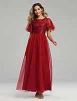 cheap -A-Line Jewel Neck Floor Length Tulle / Sequined Sparkle / Red Prom / Party Wear Dress with Sequin / Embroidery 2020