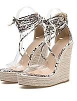 cheap -Women's Sandals Wedge Heel Open Toe PU Summer Beige