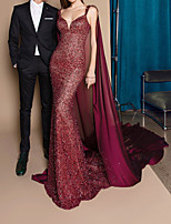 cheap -Mermaid / Trumpet Sweetheart Neckline Court Train Polyester Sexy / Red Engagement / Formal Evening Dress with Sequin / Draping 2020