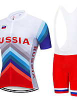 cheap -21Grams Men's Short Sleeve Cycling Jersey with Bib Shorts Blue / White Russia National Flag Bike Clothing Suit UV Resistant Breathable 3D Pad Quick Dry Sweat-wicking Sports Letter & Number Mountain