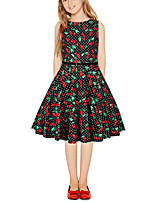 cheap -Kids Girls' Vintage Cute Cherry Fruit Patchwork Print Sleeveless Above Knee Dress Black