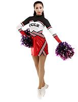 cheap -Cheerleader Costume Uniform Women's Girls' Kids Dress Spandex High Elasticity Handmade Long Sleeve Competition Dance Rhythmic Gymnastics Gymnastics Red