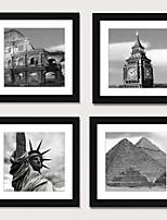 Недорогие -печать в рамке печать в рамке set4 - европейский и американский стиль черно-белая архитектура сценическое ps иллюстрация wall art