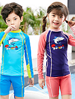 cheap -Boys' Girls' Rashguard Swimsuit Two Piece Swimsuit Elastane Swimwear UV Sun Protection Breathable Quick Dry Long Sleeve Swimming Water Sports Patchwork Summer / High Elasticity / Kid's
