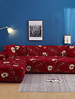 cheap -Romantic Red Floral Print Dustproof All-powerful Slipcovers Stretch L Shape Sofa Cover Super Soft Fabric Couch Cover with One Free Pillow Case