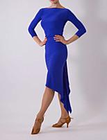 cheap -Latin Dance Club Costume Women's Performance Polyester Taffeta Ruching Long Sleeve Dress