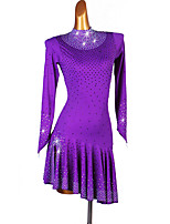 cheap -Latin Dance Dresses Women's Performance Spandex Crystals / Rhinestones Long Sleeve Dress