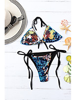 cheap -Women's Sporty Rainbow Triangle Cheeky Tankini Swimwear - Rainbow Bow Lace up S M L Rainbow