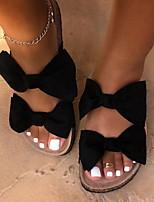 cheap -Women's Slippers & Flip-Flops Flat Heel Round Toe Canvas Summer Black / Light Brown / Light Red