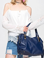 cheap -Women's PU Top Handle Bag Solid Color Blue