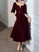 cheap -A-Line Scoop Neck Tea Length Velvet Elegant / Red Prom / Party Wear Dress with Buttons 2020