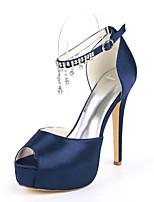 cheap -Women's Wedding Shoes Stiletto Heel Peep Toe Rhinestone Satin Minimalism Spring & Summer Black / White / Purple / Party & Evening