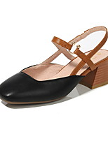 cheap -Women's Heels Chunky Heel Round Toe PU Spring & Summer Black / Almond