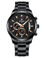 cheap -Men's Sport Watch Quartz Stainless Steel 30 m Water Resistant / Waterproof Calendar / date / day Chronograph Analog Fashion Cool - Black / Silver White+Golden Gold One Year Battery Life