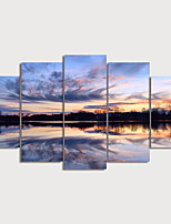 cheap -Print Rolled Canvas Prints Modern Landscape set of 5 pcs without Frame Art Prints