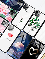 cheap -Case For Apple scene map iPhone 11 11 Pro 11 Pro Max colorful love painted pattern tempered glass back plate TPU frame 2-in-1 anti-fall mobile phone case JMGD