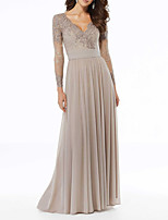 cheap -A-Line V Neck Floor Length Chiffon Elegant / Grey Wedding Guest / Formal Evening Dress with Pleats / Beading / Appliques 2020