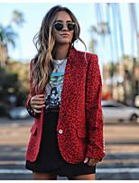 cheap -Women's Blazer, Leopard Notch Lapel Polyester Yellow / Red / Gray