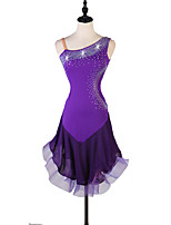cheap -Latin Dance Dresses Women's Performance Spandex / Organza Crystals / Rhinestones Sleeveless Dress