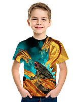Недорогие -Дети Мальчики Активный Уличный стиль 3D Животное С принтом С короткими рукавами Футболка Зеленый