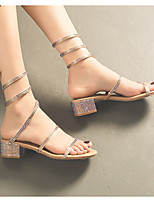 cheap -Women's Sandals Chunky Heel Round Toe PU Spring & Summer Champagne