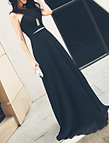 cheap -A-Line V Neck Floor Length Polyester Elegant / Black Prom / Formal Evening Dress with Ruched 2020