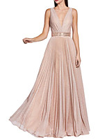 cheap -A-Line V Neck Floor Length Sequined Sparkle / Pink Wedding Guest / Prom Dress with Sash / Ribbon / Pleats / Sequin 2020