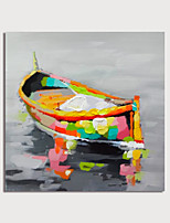 cheap -Hand Painted Canvas Oilpainting Abstract Boat by Knife Home Decoration with Frame Painting Ready to Hang