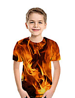 cheap -Kids Boys' Active Street chic Geometric 3D Patchwork Print Short Sleeve Tee Red